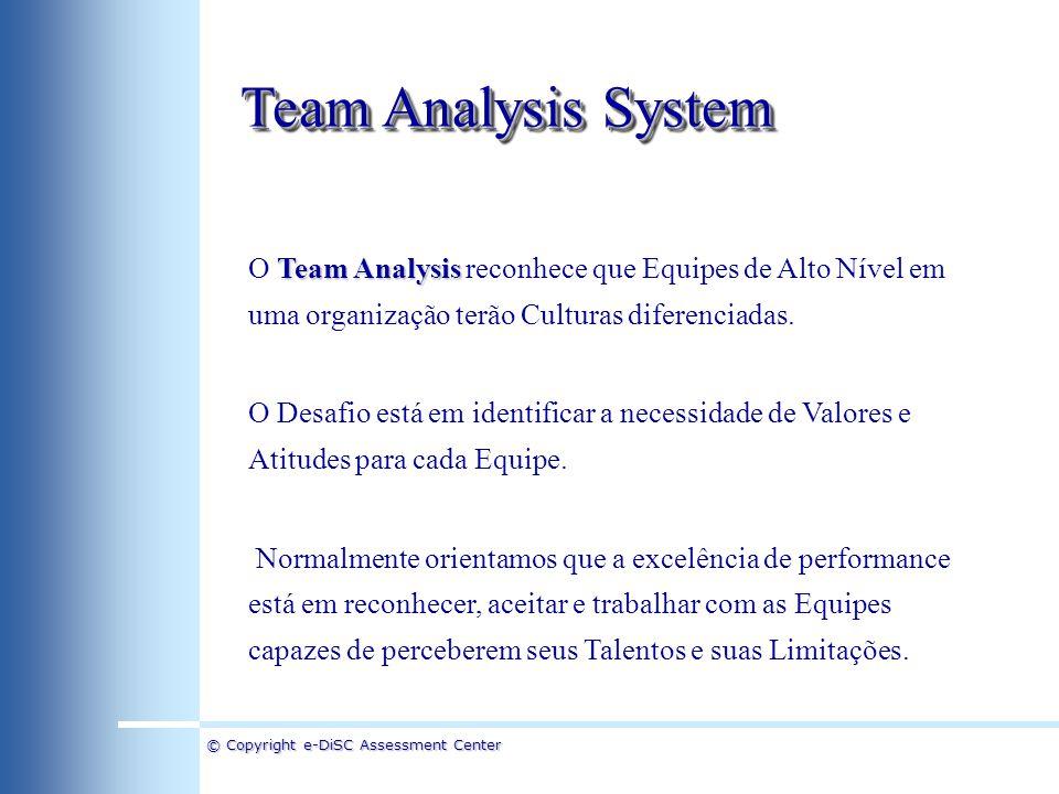 © Copyright e-DiSC Assessment Center Team Analysis System Team Analysis O Team Analysis reconhece que Equipes de Alto Nível em uma organização terão C