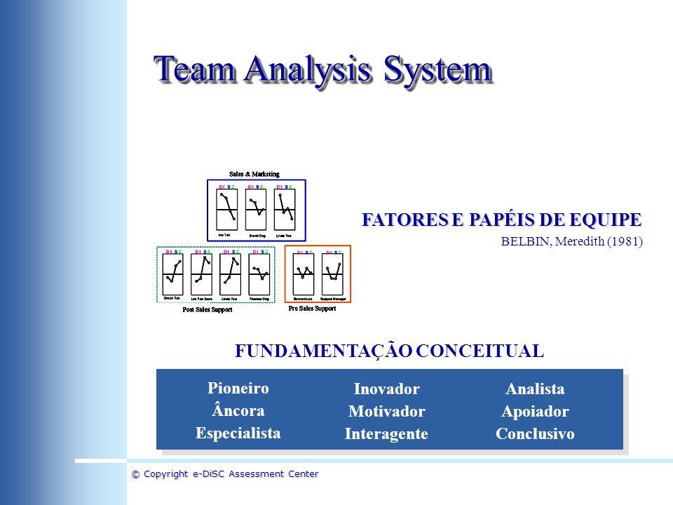 © Copyright e-DiSC Assessment Center Team Analysis System Pioneiro Âncora Especialista Inovador Motivador Interagente Analista Apoiador Conclusivo BEL