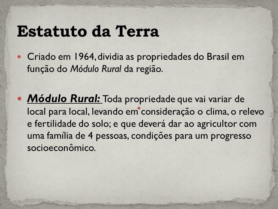 Criado em 1964, dividia as propriedades do Brasil em função do Módulo Rural da região.