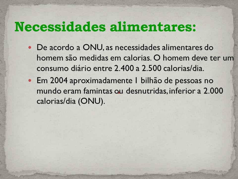 De acordo a ONU, as necessidades alimentares do homem são medidas em calorias.