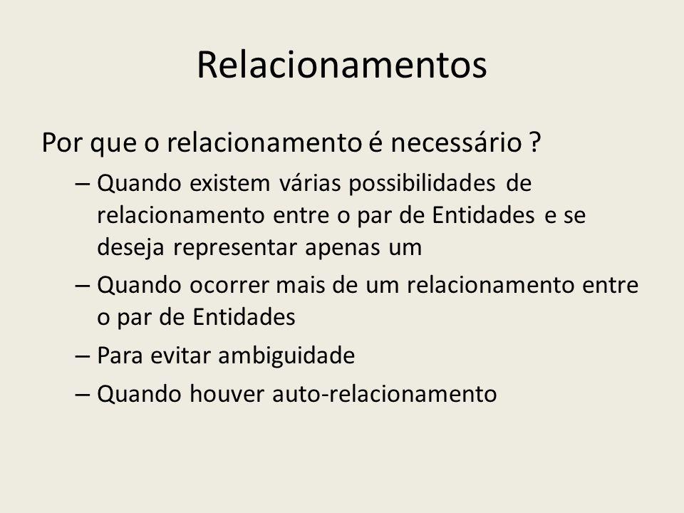 Relacionamentos Por que o relacionamento é necessário ? – Quando existem várias possibilidades de relacionamento entre o par de Entidades e se deseja