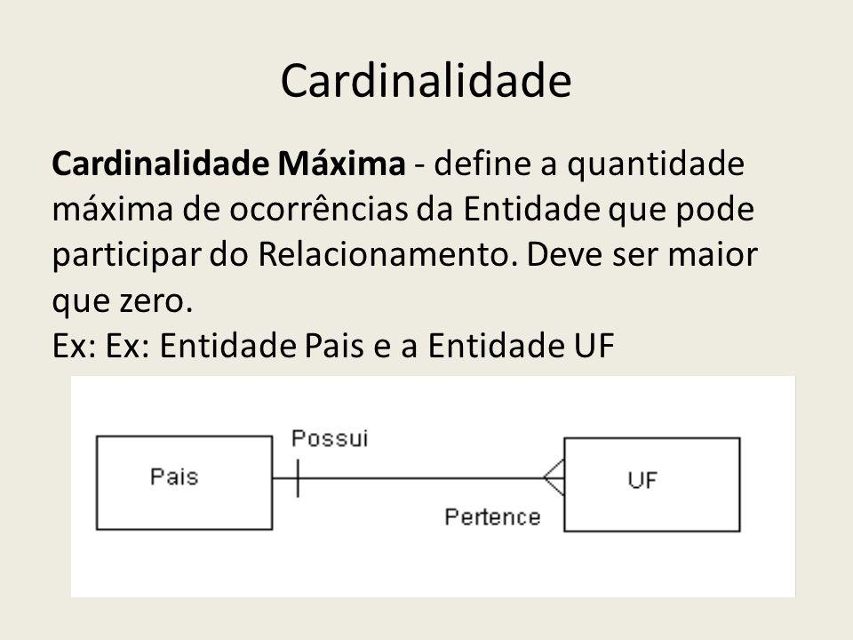 Cardinalidade Cardinalidade Máxima - define a quantidade máxima de ocorrências da Entidade que pode participar do Relacionamento. Deve ser maior que z