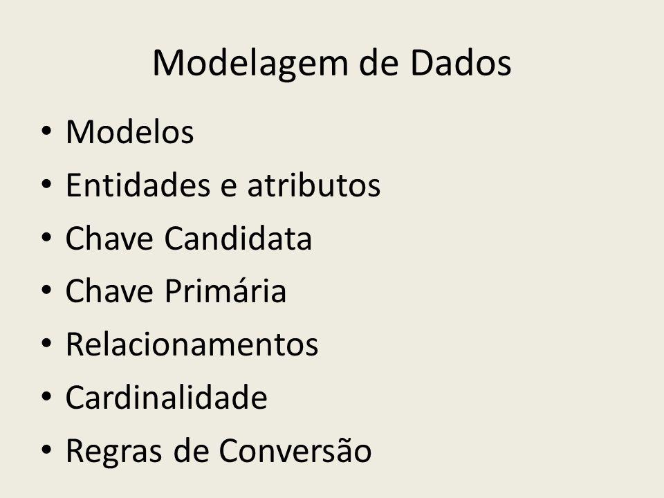 Modelagem de Dados Modelos Entidades e atributos Chave Candidata Chave Primária Relacionamentos Cardinalidade Regras de Conversão