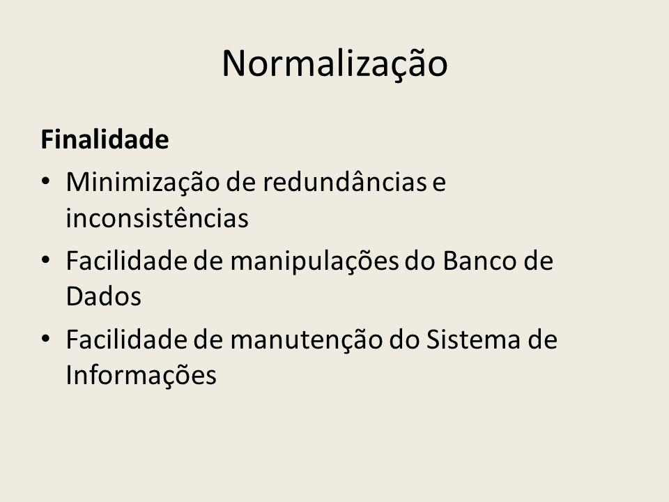 Normalização Finalidade Minimização de redundâncias e inconsistências Facilidade de manipulações do Banco de Dados Facilidade de manutenção do Sistema