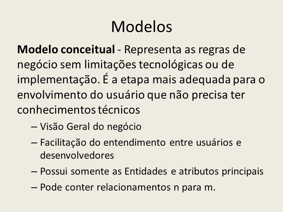 Modelos Modelo conceitual - Representa as regras de negócio sem limitações tecnológicas ou de implementação. É a etapa mais adequada para o envolvimen