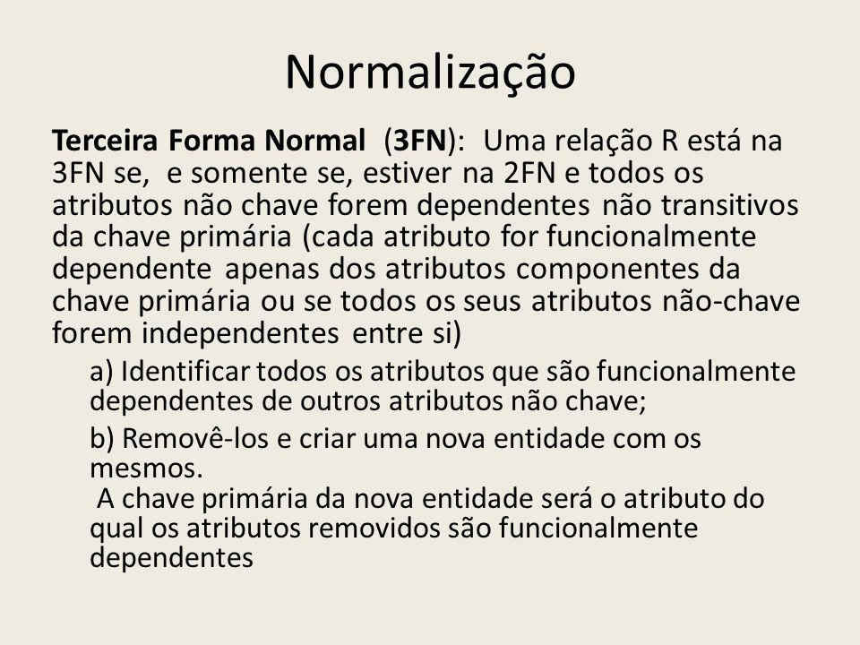 Normalização Terceira Forma Normal (3FN): Uma relação R está na 3FN se, e somente se, estiver na 2FN e todos os atributos não chave forem dependentes