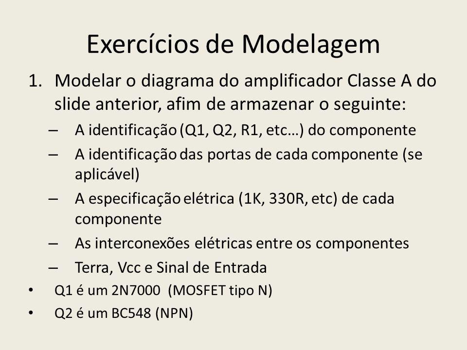 Exercícios de Modelagem 1.Modelar o diagrama do amplificador Classe A do slide anterior, afim de armazenar o seguinte: – A identificação (Q1, Q2, R1,
