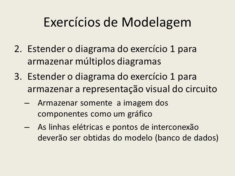 Exercícios de Modelagem 2.Estender o diagrama do exercício 1 para armazenar múltiplos diagramas 3.Estender o diagrama do exercício 1 para armazenar a