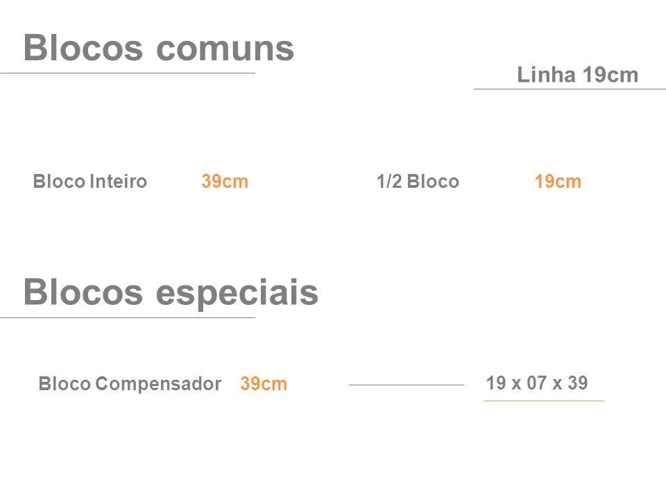 Bloco Inteiro 39cm Blocos comuns Linha 19cm 1/2 Bloco 19cm Bloco Compensador 39cm Blocos especiais 19 x 07 x 39