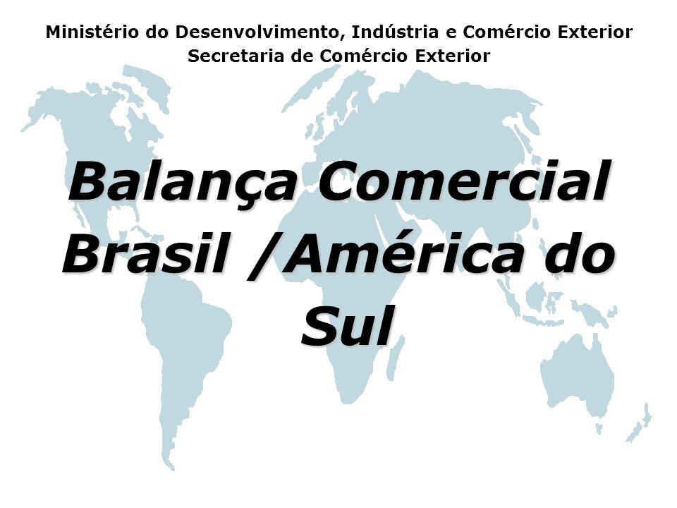 Balança Comercial Brasil /América do Sul Sul Ministério do Desenvolvimento, Indústria e Comércio Exterior Secretaria de Comércio Exterior