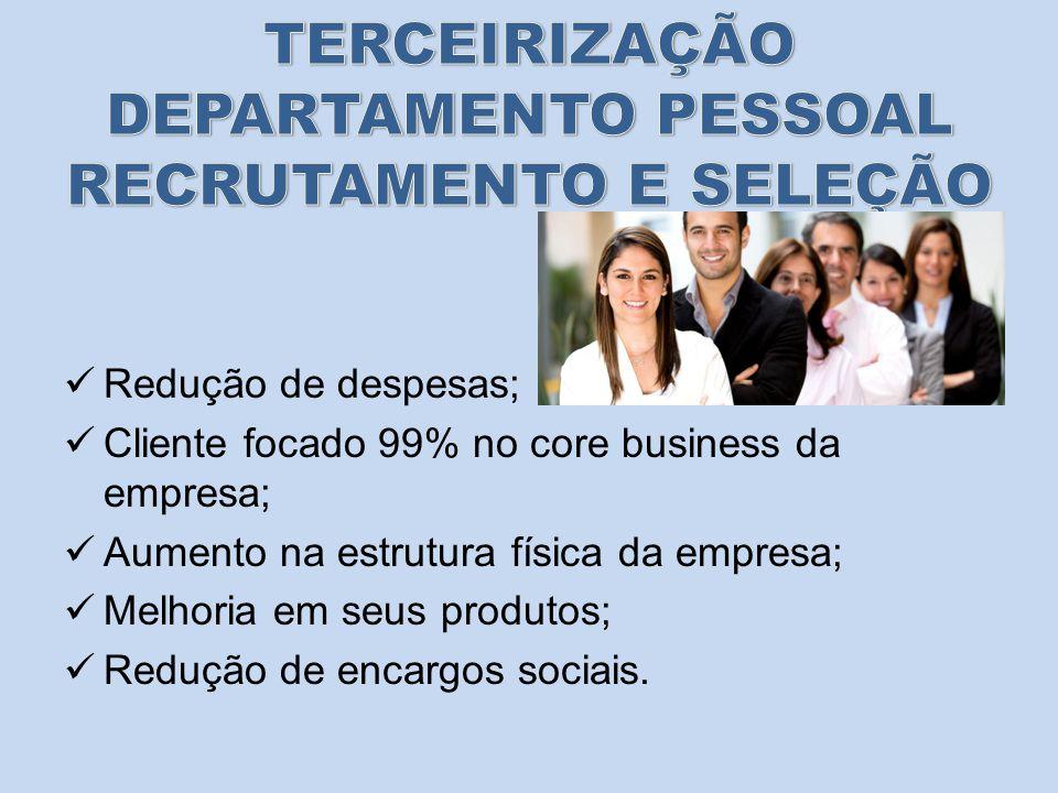 Redução de despesas; Cliente focado 99% no core business da empresa; Aumento na estrutura física da empresa; Melhoria em seus produtos; Redução de encargos sociais.