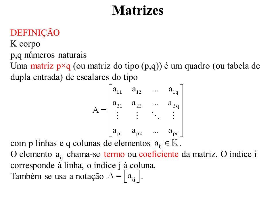 Matrizes DEFINIÇÃO K corpo p,q números naturais Uma matriz p×q (ou matriz do tipo (p,q)) é um quadro (ou tabela de dupla entrada) de escalares do tipo com p linhas e q colunas de elementos.