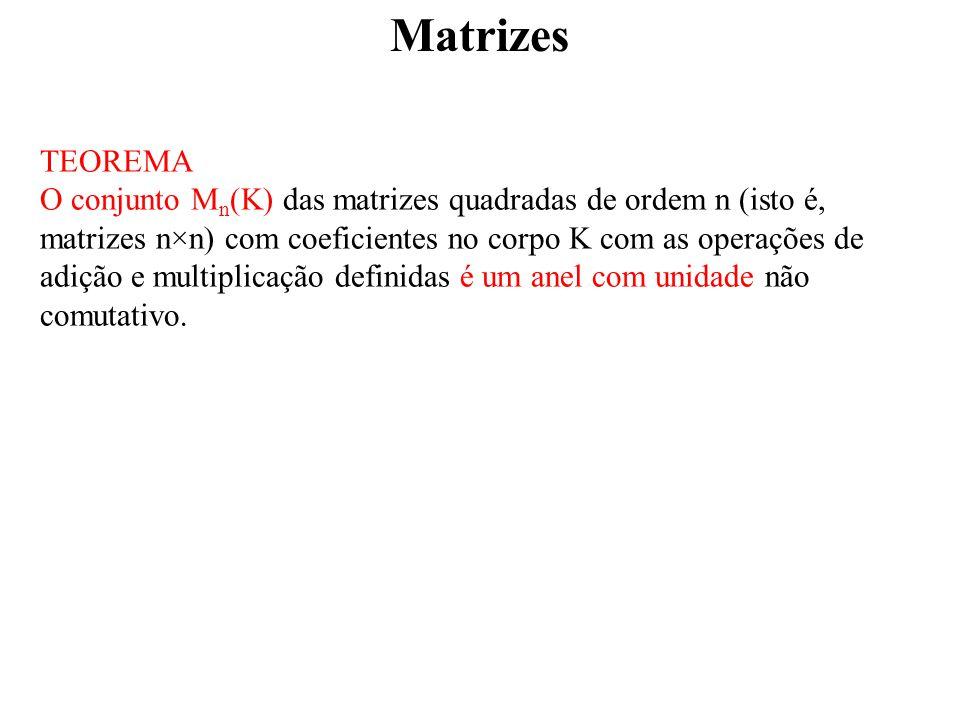 Matrizes TEOREMA O conjunto M n (K) das matrizes quadradas de ordem n (isto é, matrizes n×n) com coeficientes no corpo K com as operações de adição e multiplicação definidas é um anel com unidade não comutativo.
