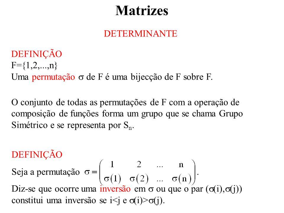 DETERMINANTE DEFINIÇÃO F=  1,2,...,n} Uma permutação  de F é uma bijecção de F sobre F.