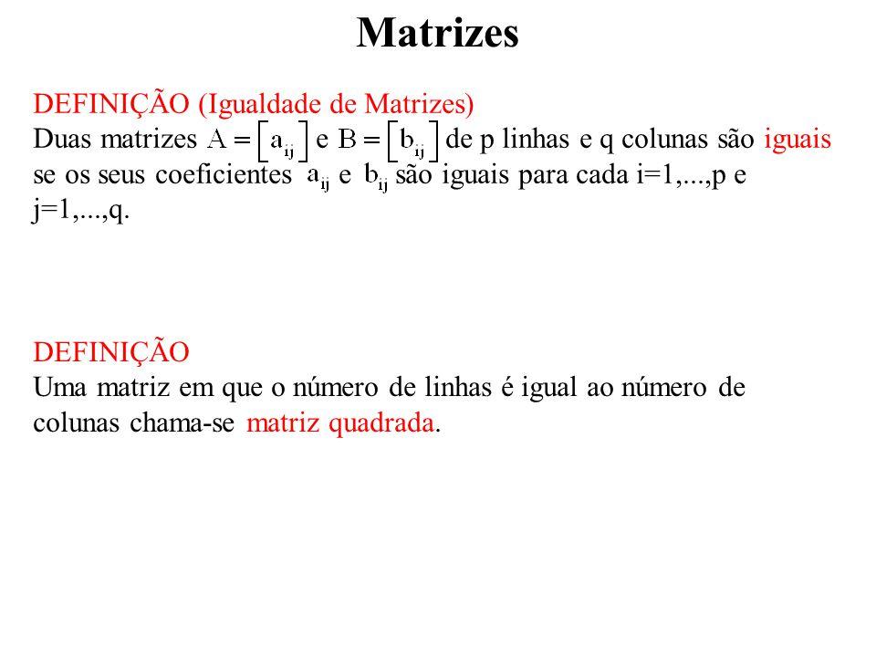 Matrizes PROPOSIÇÃO Se A e B são matrizes invertíveis e o produto AB está definido (isto é, as matrizes são encadeadas) então: (I) AB é invertível (II) Generalizando, Se A 1, A 2,..., A p são matrizes invertíveis e o produto A 1 A 2...A p está definido então: (I) A 1 A 2...A p é invertível (II) PROPOSIÇÃO Se A é invertível, A T também o é e.