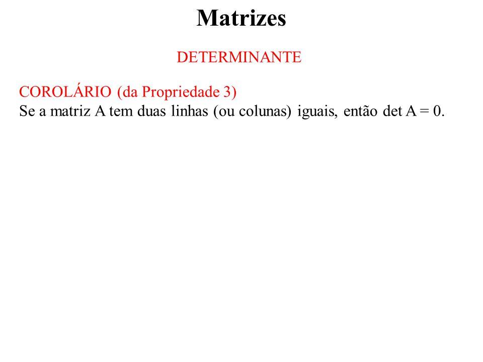 Matrizes DETERMINANTE COROLÁRIO (da Propriedade 3) Se a matriz A tem duas linhas (ou colunas) iguais, então det A = 0.