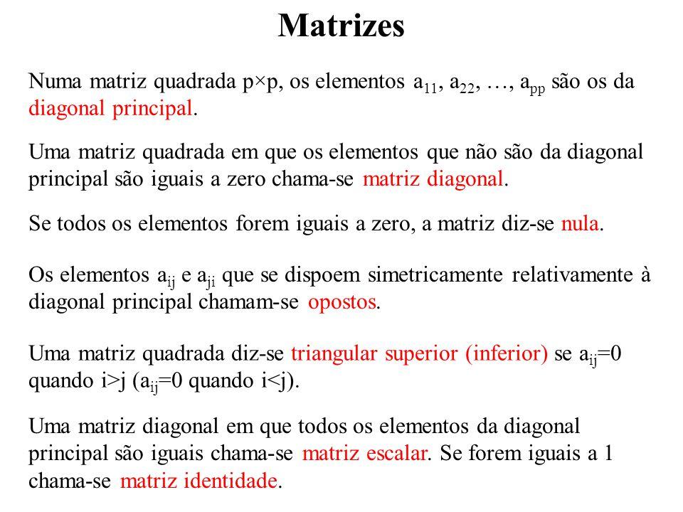 Matrizes DEFINIÇÃO Se é uma matriz quadrada, a matriz transposta de A, A T, é a matriz que se obtem substituindo cada elemento pelo seu oposto e mantendo os da diagonal principal.