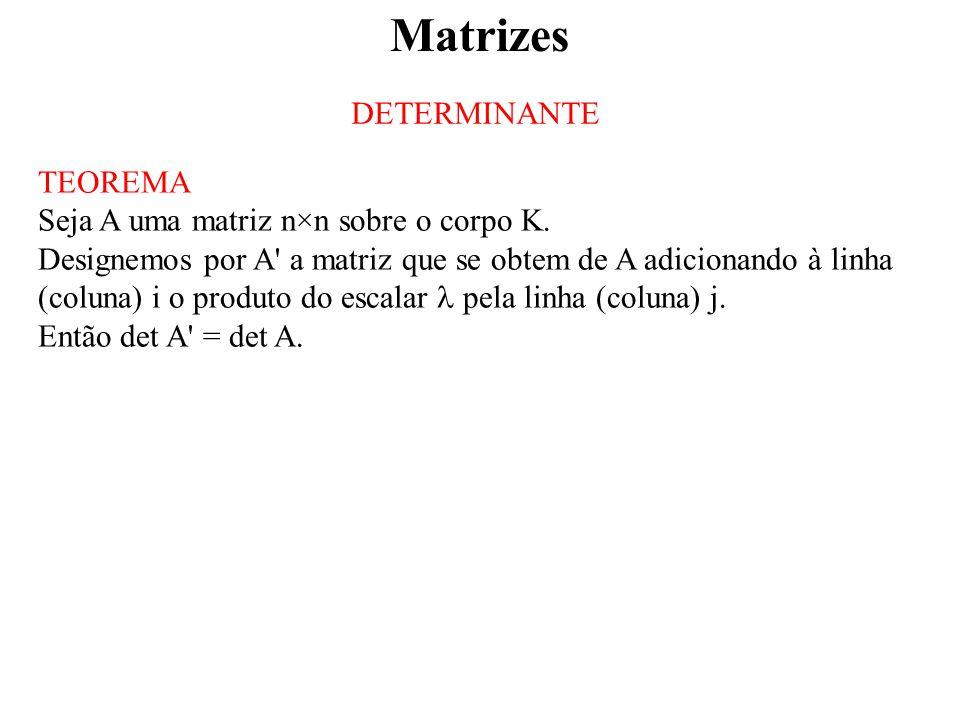 Matrizes DETERMINANTE TEOREMA Seja A uma matriz n×n sobre o corpo K.