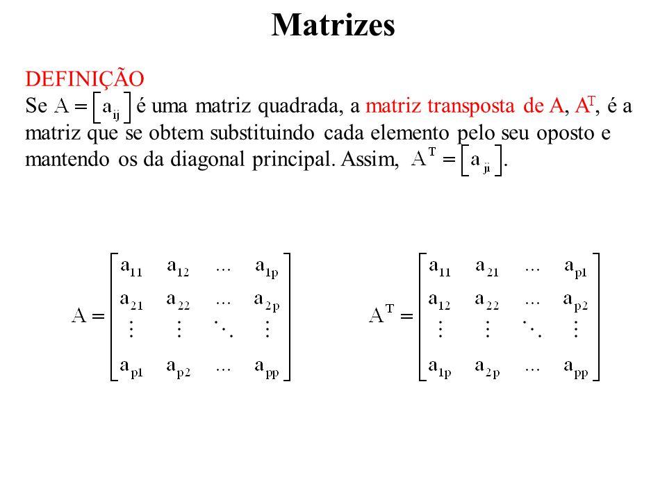Matrizes DEFINIÇÃO Dada uma matriz A cujos elementos são números complexos, a matriz conjugada de A,, é a matriz que se obtem substituindo cada elemento de A pelo seu conjugado.