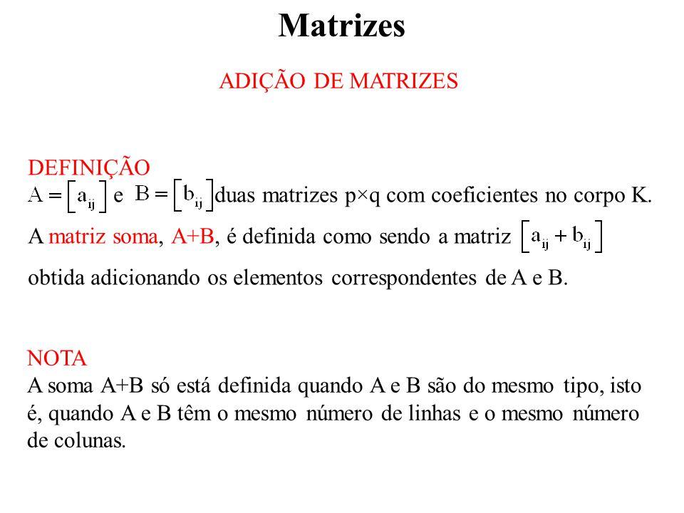 Matrizes ADIÇÃO DE MATRIZES DEFINIÇÃO e duas matrizes p×q com coeficientes no corpo K.
