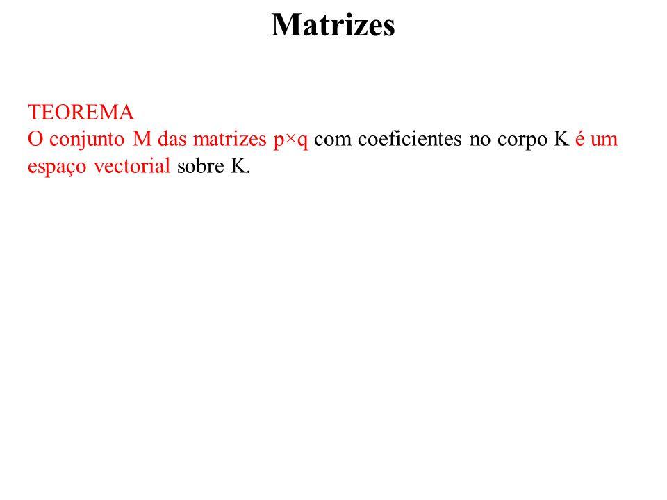 Matrizes TEOREMA O conjunto M das matrizes p×q com coeficientes no corpo K é um espaço vectorial sobre K.