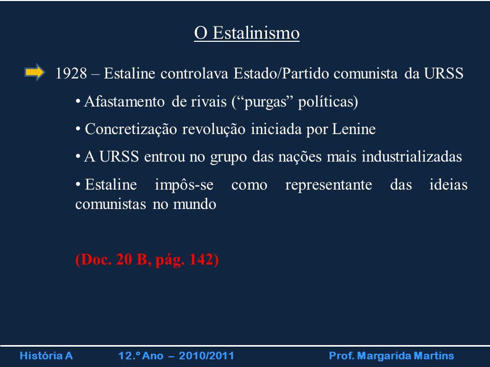 História A 12.º Ano – 2010/2011 Prof. Margarida Martins O Estalinismo 1928 – Estaline controlava Estado/Partido comunista da URSS Afastamento de rivai