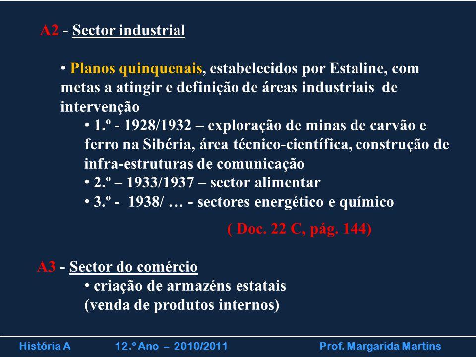 História A 12.º Ano – 2010/2011 Prof. Margarida Martins A2 - Sector industrial Planos quinquenais, estabelecidos por Estaline, com metas a atingir e d