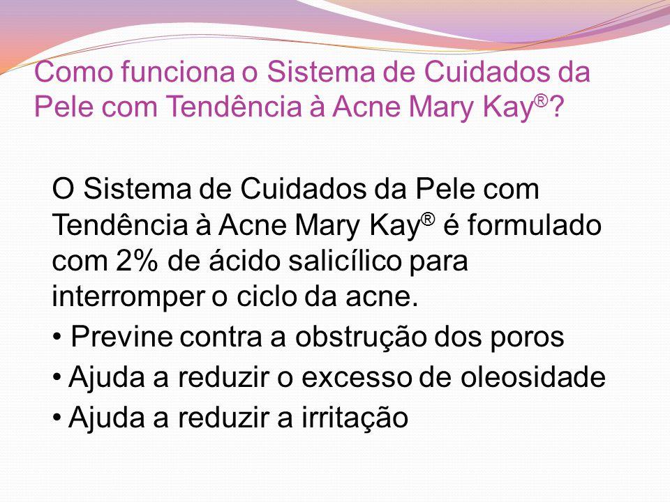 Como funciona o Sistema de Cuidados da Pele com Tendência à Acne Mary Kay ® .