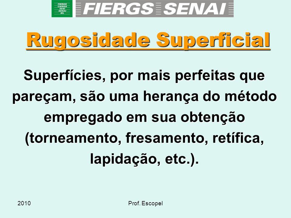 2010Prof. Escopel Rugosidade Superficial Superfícies, por mais perfeitas que pareçam, são uma herança do método empregado em sua obtenção (torneamento