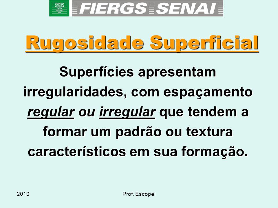2010Prof. Escopel Rugosidade Superficial Superfícies apresentam irregularidades, com espaçamento regular ou irregular que tendem a formar um padrão ou