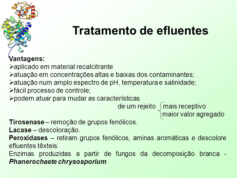 Tratamento de efluentes Vantagens:  aplicado em material recalcitrante  atuação em concentrações altas e baixas dos contaminantes;  atuação num amp