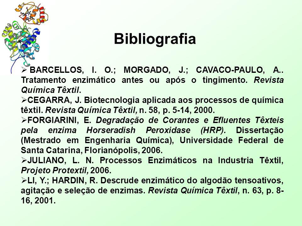 Bibliografia  BARCELLOS, I. O.; MORGADO, J.; CAVACO-PAULO, A.. Tratamento enzimático antes ou após o tingimento. Revista Química Têxtil.  CEGARRA, J
