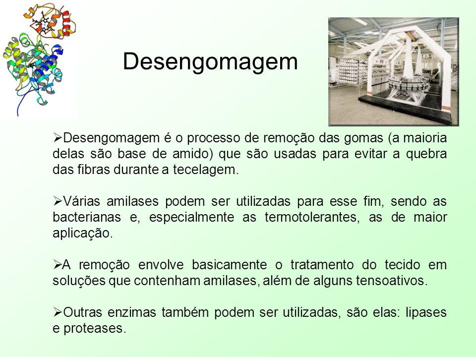 Desengomagem  Desengomagem é o processo de remoção das gomas (a maioria delas são base de amido) que são usadas para evitar a quebra das fibras duran