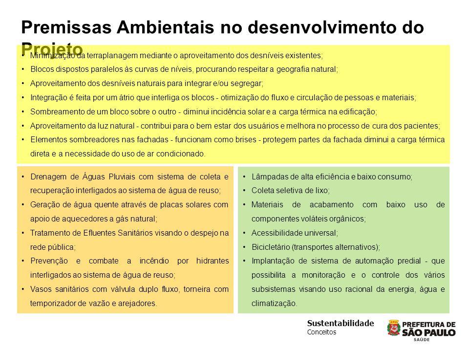 Sustentabilidade Conceitos Premissas Ambientais no desenvolvimento do Projeto Minimização da terraplanagem mediante o aproveitamento dos desníveis exi