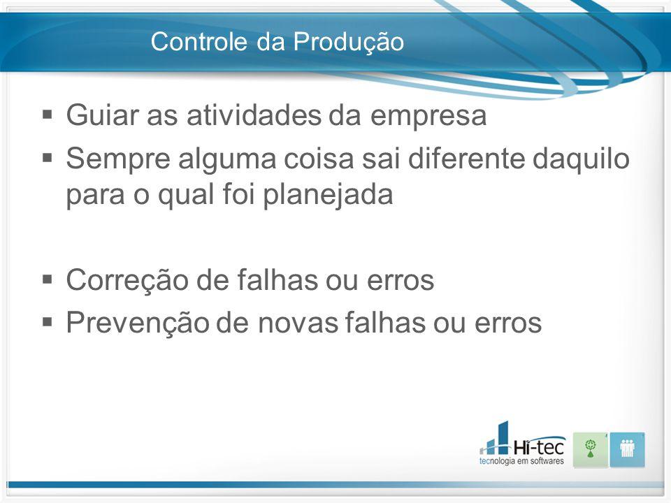 Controle da Produção  Guiar as atividades da empresa  Sempre alguma coisa sai diferente daquilo para o qual foi planejada  Correção de falhas ou er