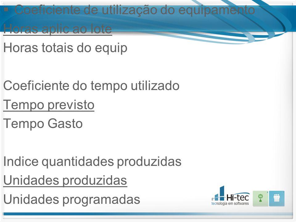  Coeficiente de utilização do equipamento Horas aplic ao lote Horas totais do equip Coeficiente do tempo utilizado Tempo previsto Tempo Gasto Indice