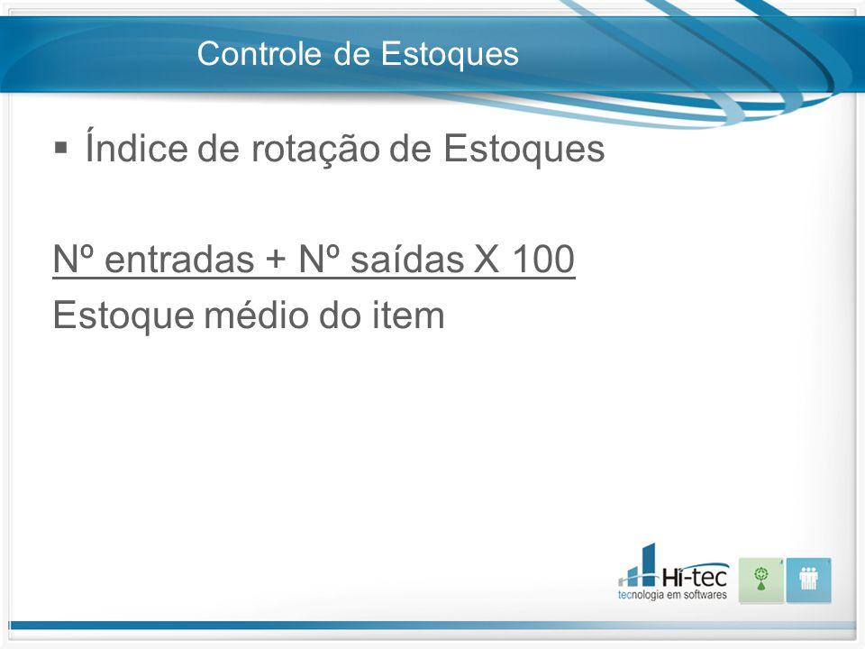 Controle de Estoques  Índice de rotação de Estoques Nº entradas + Nº saídas X 100 Estoque médio do item