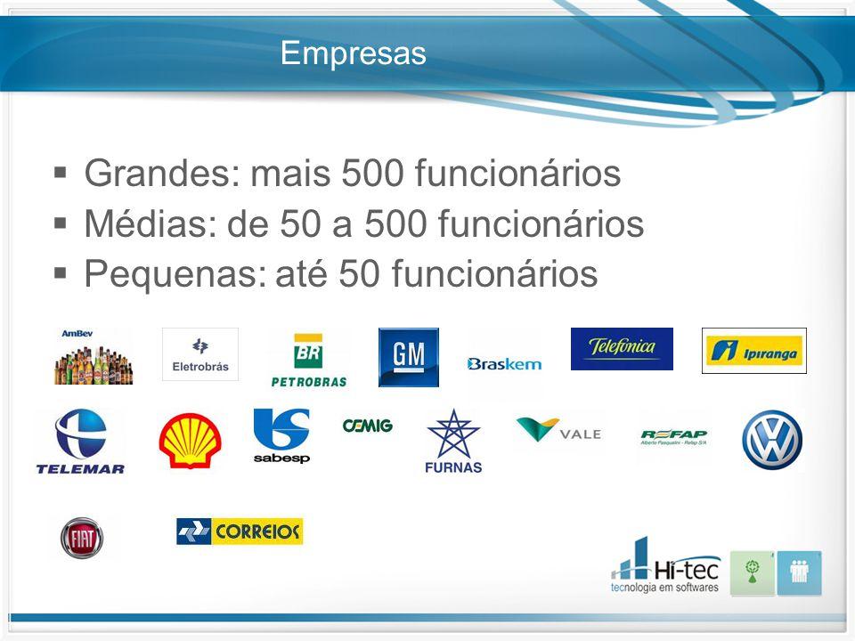 Empresas  Grandes: mais 500 funcionários  Médias: de 50 a 500 funcionários  Pequenas: até 50 funcionários