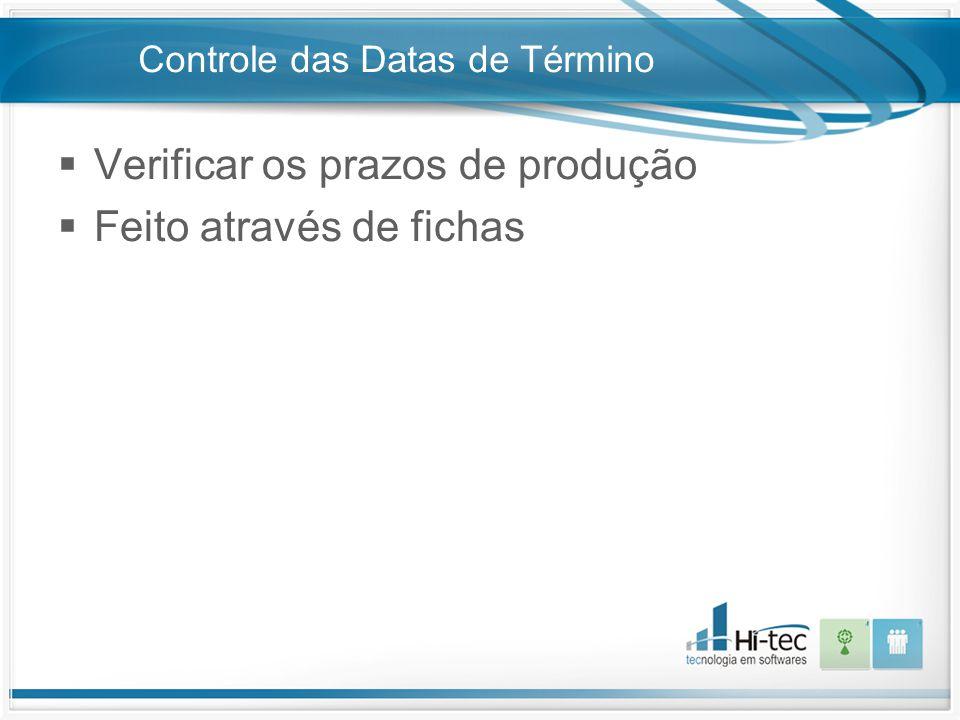 Controle das Datas de Término  Verificar os prazos de produção  Feito através de fichas