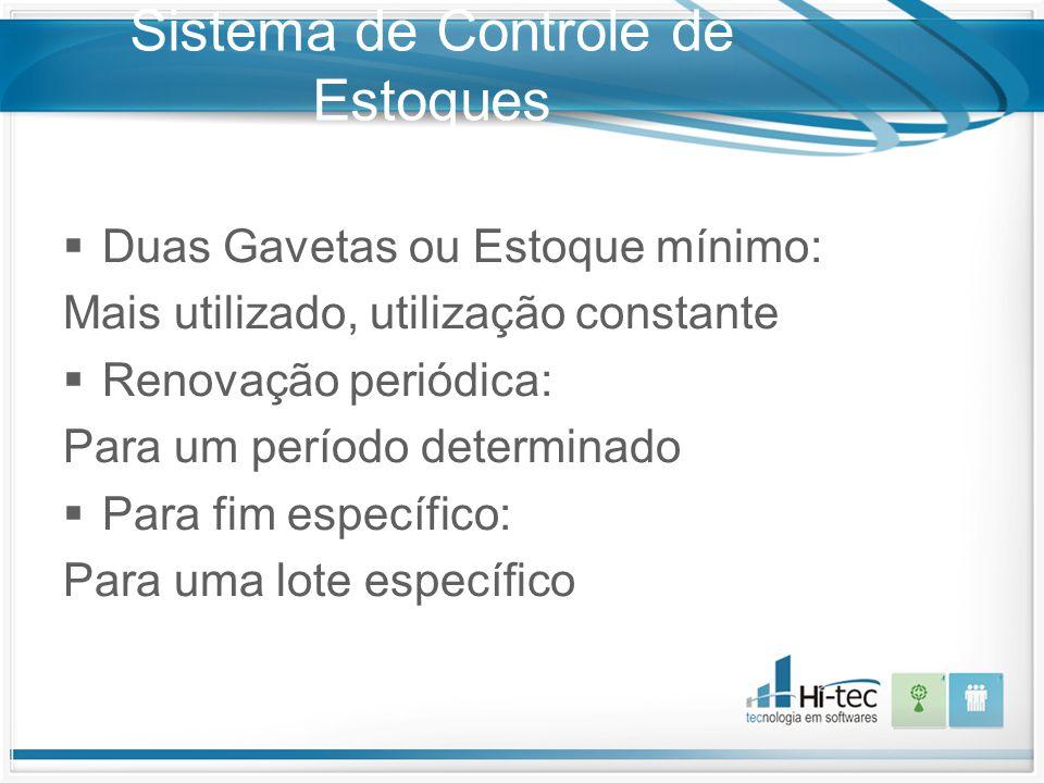 Sistema de Controle de Estoques  Duas Gavetas ou Estoque mínimo: Mais utilizado, utilização constante  Renovação periódica: Para um período determin