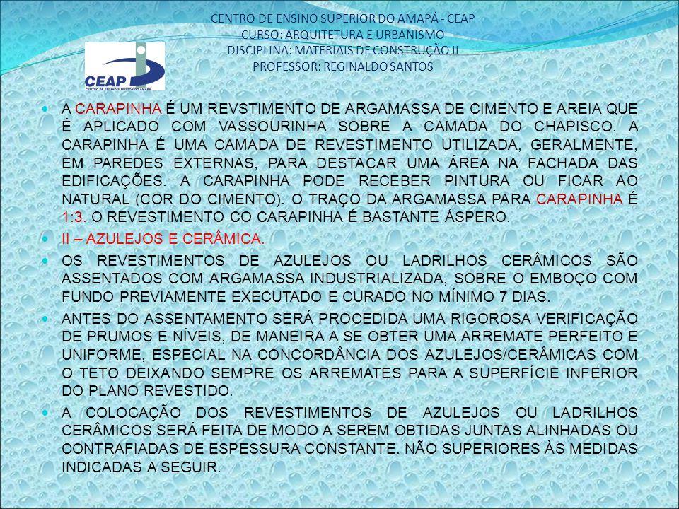 CENTRO DE ENSINO SUPERIOR DO AMAPÁ - CEAP CURSO: ARQUITETURA E URBANISMO DISCIPLINA: MATERIAIS DE CONSTRUÇÃO II PROFESSOR: REGINALDO SANTOS A CARAPINH