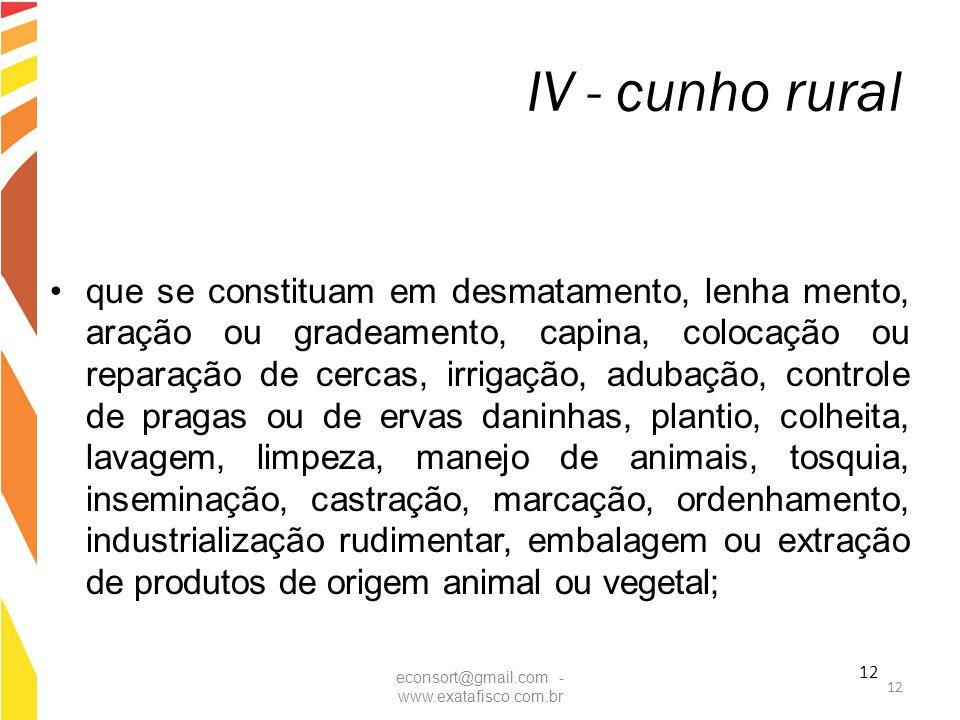 12 IV - cunho rural que se constituam em desmatamento, lenha mento, aração ou gradeamento, capina, colocação ou reparação de cercas, irrigação, adubaç