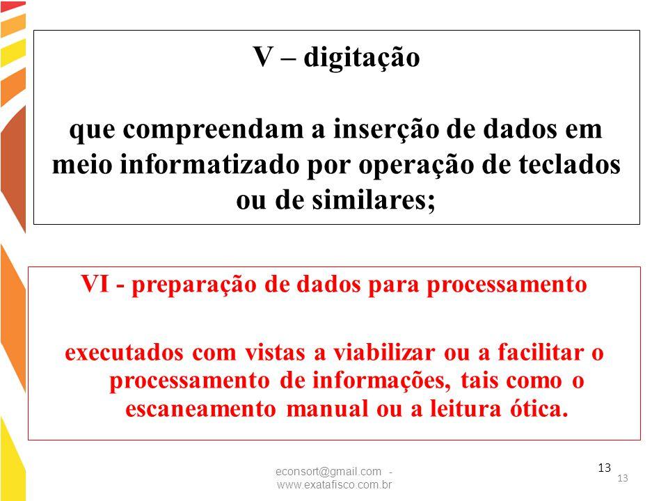 13 V – digitação que compreendam a inserção de dados em meio informatizado por operação de teclados ou de similares; VI - preparação de dados para pro