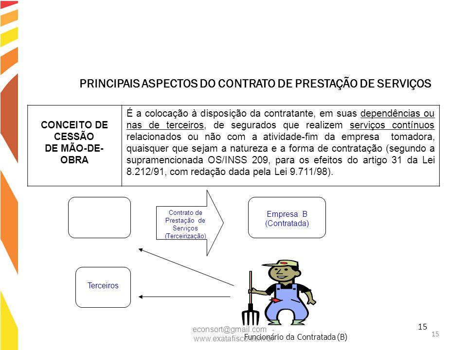 15 CONCEITO DE CESSÃO DE MÃO-DE- OBRA É a colocação à disposição da contratante, em suas dependências ou nas de terceiros, de segurados que realizem s