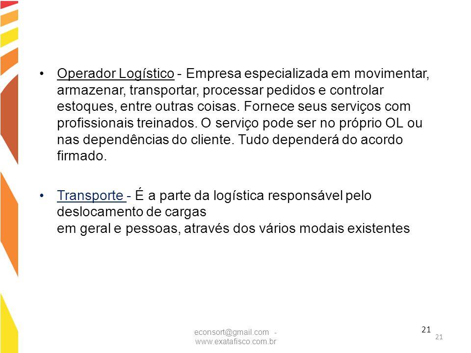 21 Operador Logístico - Empresa especializada em movimentar, armazenar, transportar, processar pedidos e controlar estoques, entre outras coisas. Forn