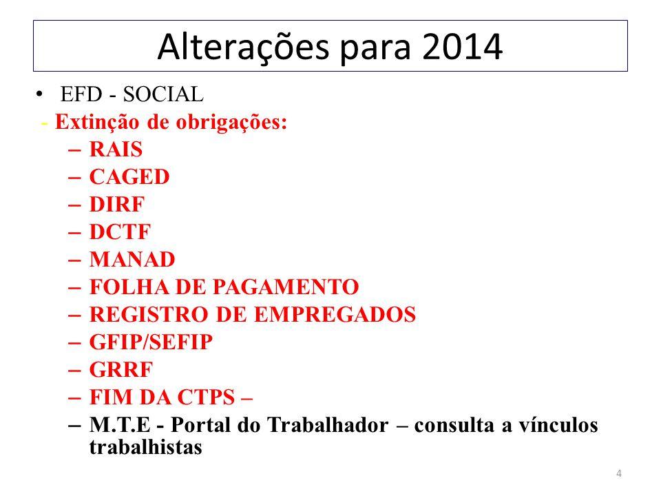 4 Alterações para 2014 EFD - SOCIAL - Extinção de obrigações: – RAIS – CAGED – DIRF – DCTF – MANAD – FOLHA DE PAGAMENTO – REGISTRO DE EMPREGADOS – GFI