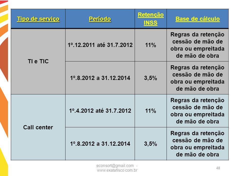 econsort@gmail.com - www.exatafisco.com.br 48 Tipo de serviço Período Retenção INSS Base de cálculo TI e TIC 1º.12.2011 até 31.7.201211% Regras da ret
