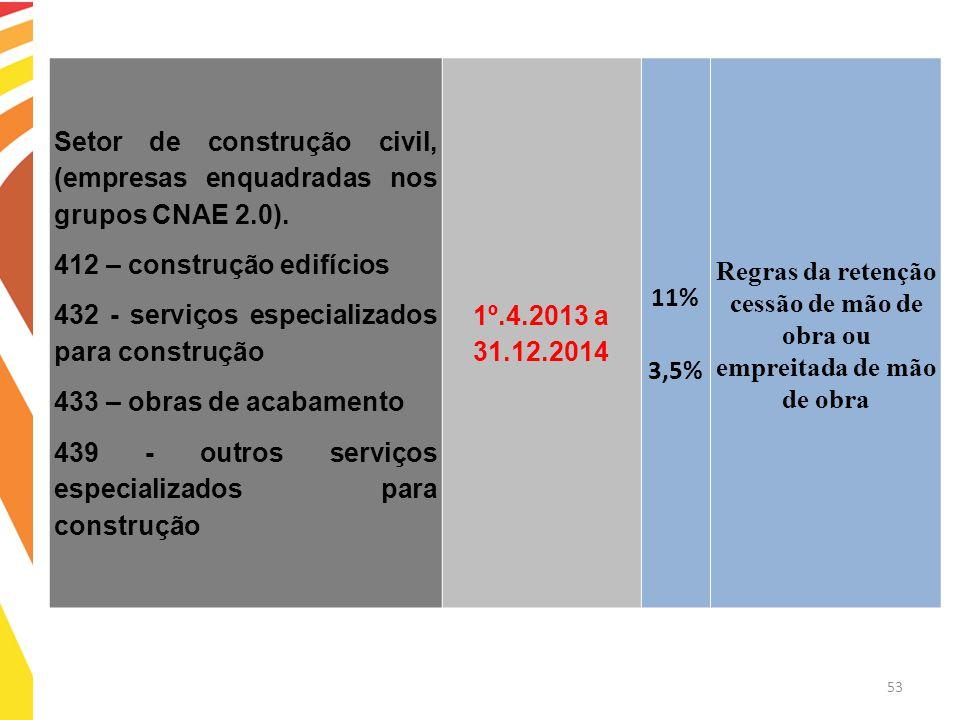 53 Setor de construção civil, (empresas enquadradas nos grupos CNAE 2.0). 412 – construção edifícios 432 - serviços especializados para construção 433