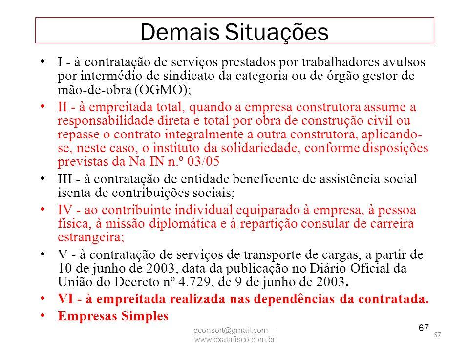 67 Demais Situações I - à contratação de serviços prestados por trabalhadores avulsos por intermédio de sindicato da categoria ou de órgão gestor de m