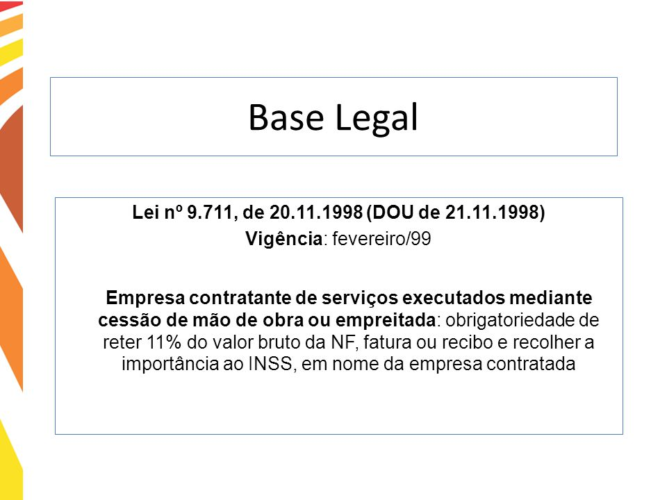 Base Legal Lei nº 9.711, de 20.11.1998 (DOU de 21.11.1998) Vigência: fevereiro/99 Empresa contratante de serviços executados mediante cessão de mão de